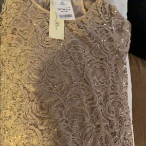 Nwt women's sequined gorgeous top shirt sleeves